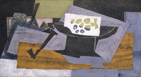 Pipe et Compotier, 1919 (oil and sand on canvas)