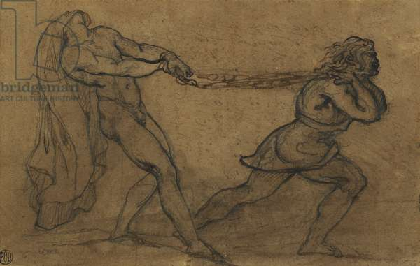 A Male Nude Pulled by Another Male, (pencil and brown ink on brown paper)