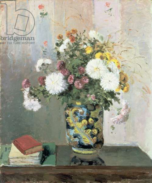 Bouquet of Flowers, Chrysanthemums in a Chinese Vase (oil on canvas)