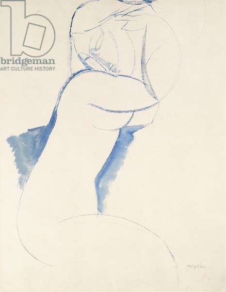 Caryatide, c.1913 (pen and brush and blue ink wash over pencil on paper)