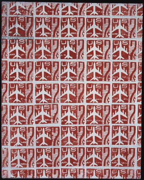 Red Airmail Stamps, 1962 (synthetic polymer silkscreened on canvas)