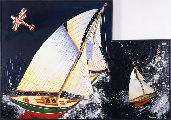 Sailing, 1993 (oil, string, wood, model lighthouse, boat and airplane on canvas)