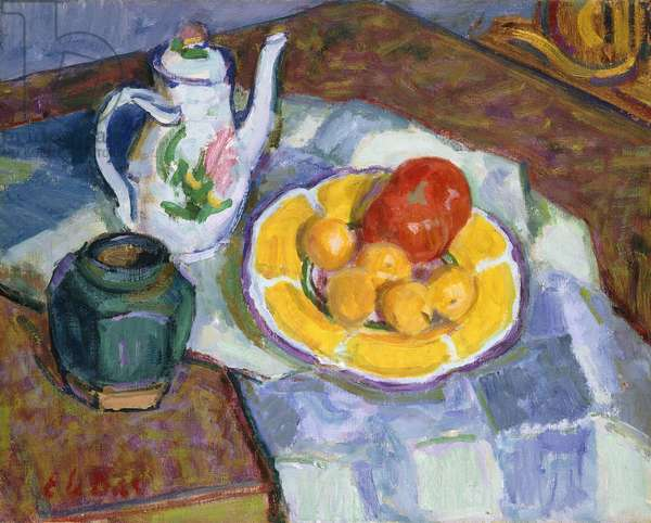 Still Life with Fruit and Teapot, (oil on canvas)
