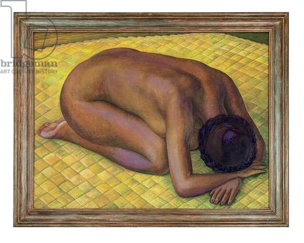 Nieves desnuda de rodillas sobre un petate, 1940 (oil on canvas)