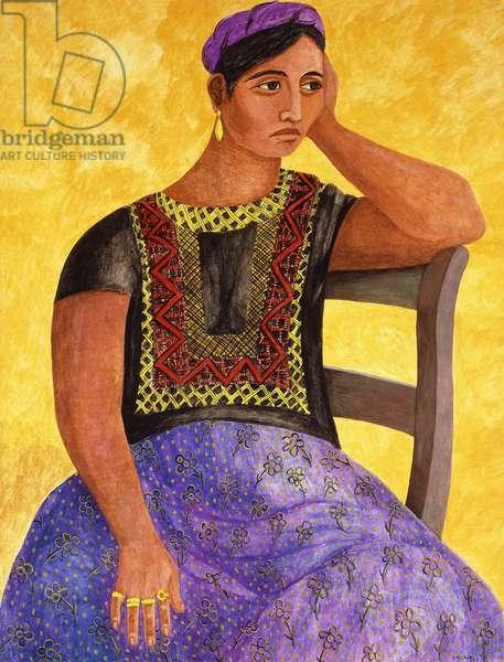 Tehuana Sitting; Tehuana Sentada, 1949 (gouache on paper)