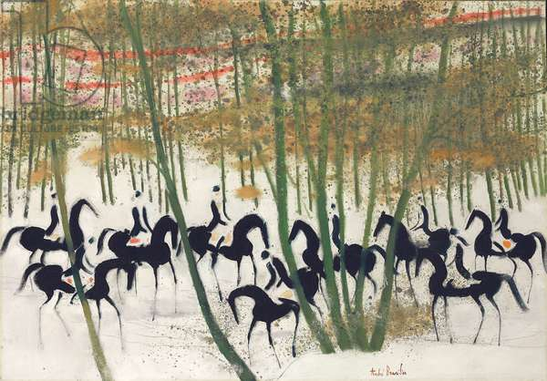 Horseriders in the Snow; Cavaliers sur la neige, 1969 (oil on canvas)