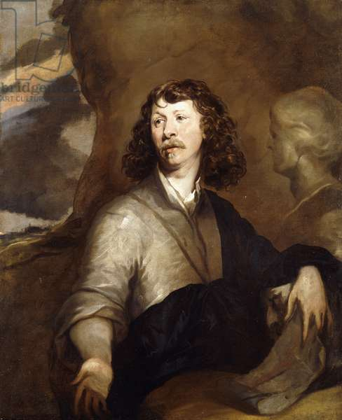Portrait of a Gentleman, Possibly the Artist, half-length, in a Brown Cloak and Blue Wrap, Beside a Marble Bust, in a Rocky Landscape, (oil on canvas)