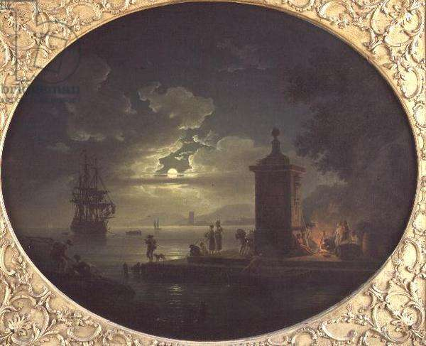 Night: A Moonlit coastal landscape with Fisherfolk by a fire on a Quay, a Man of War beyond