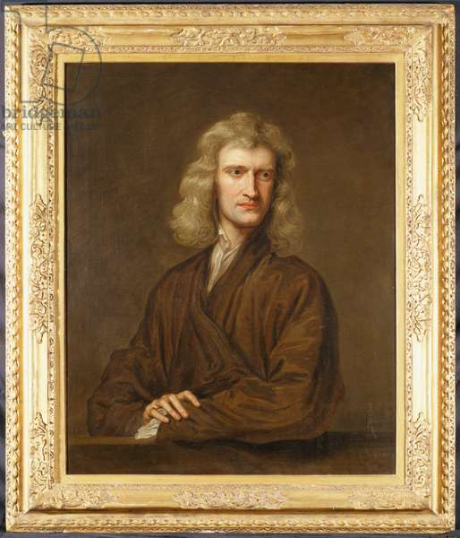 Portrait of Sir Isaac Newton (1642-1727), the Great Philosopher, Mathematician and Astronomer, half length in Brown Cloak Leaning on a Parapet (oil on canvas)