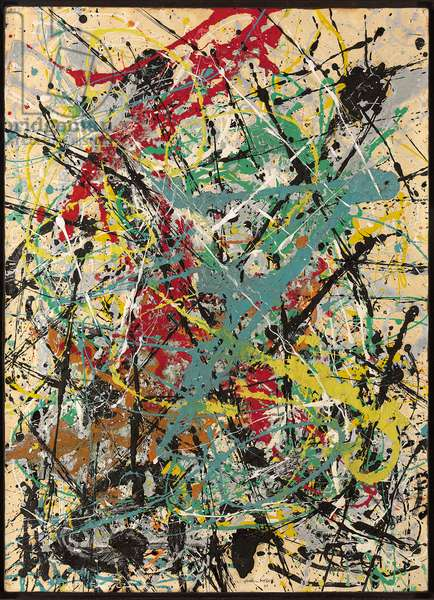 Number 16, 1949, 1949 (oil and enamel on paper mounted on masonite)