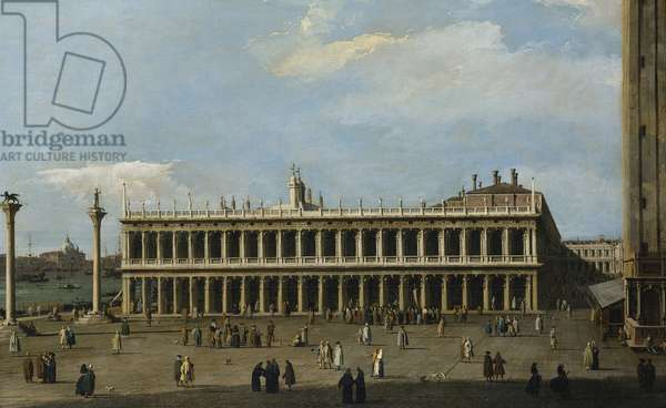 The Library and the Piazzetta, Venice, from the Doge's Palace, (oil on canvas)