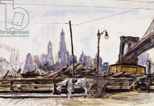 Brooklyn Bridge, 1929 (watercolour on paper)