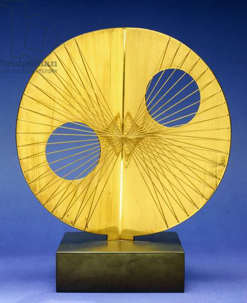 Small Sun, 1969 (polished bronze and string)