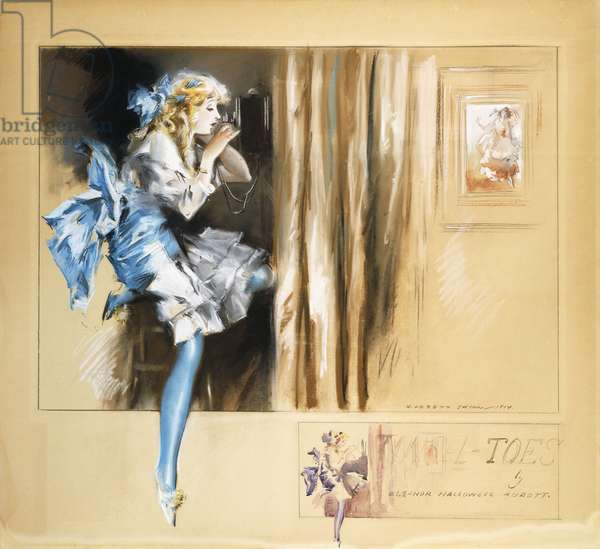 Tinsel Toes, 1914 (pastel, watercolour, brush and black ink on board)