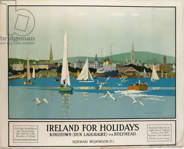 Ireland for holidays - Kingstown, c.1930 (colour litho)
