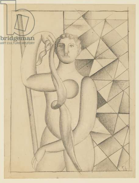 Woman with Scarf, 1920 (pencil on card)