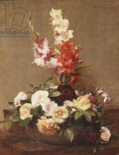 Gladioli and Roses, 1881 (oil on canvas)