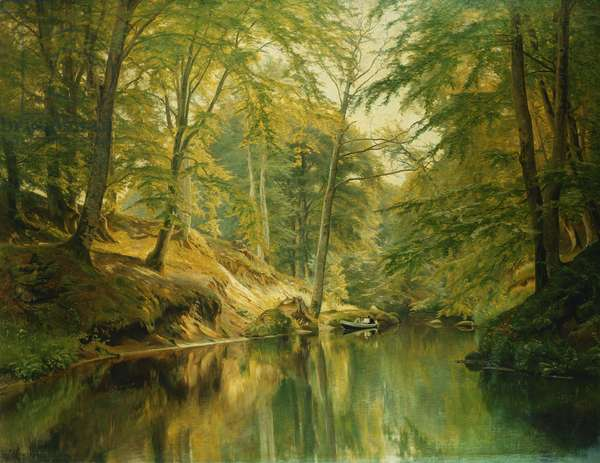 A Wooded River Landscape with Figures in a Boat, 1893 (oil on canvas)