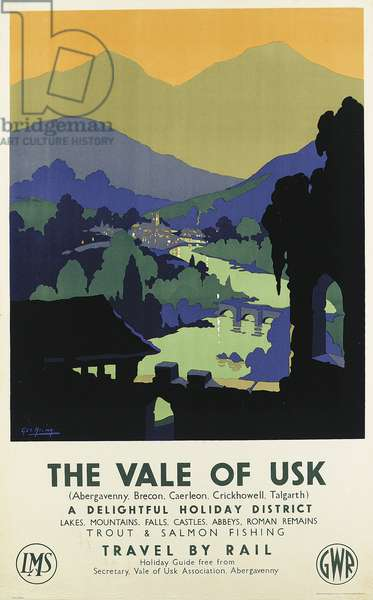 The Vale of Usk, poster advertising the Great Western Railway, c.1935 (colour litho)