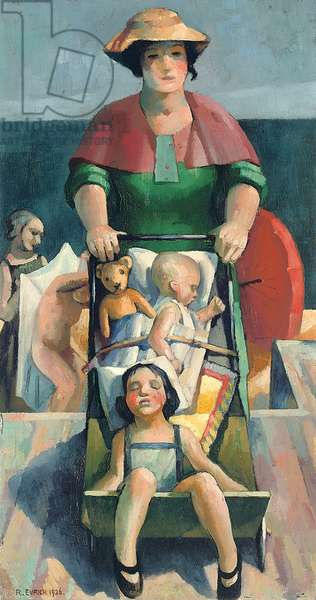 Mother and Children, Day at the Beach, 1926 (oil on board)