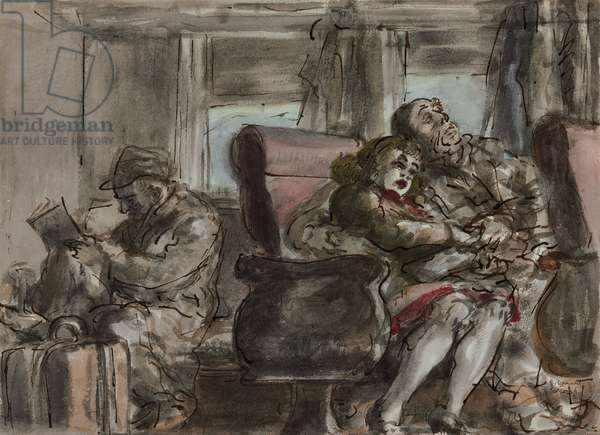 Passengers in a Train Car  (watercolour, ink and pencil on paper)