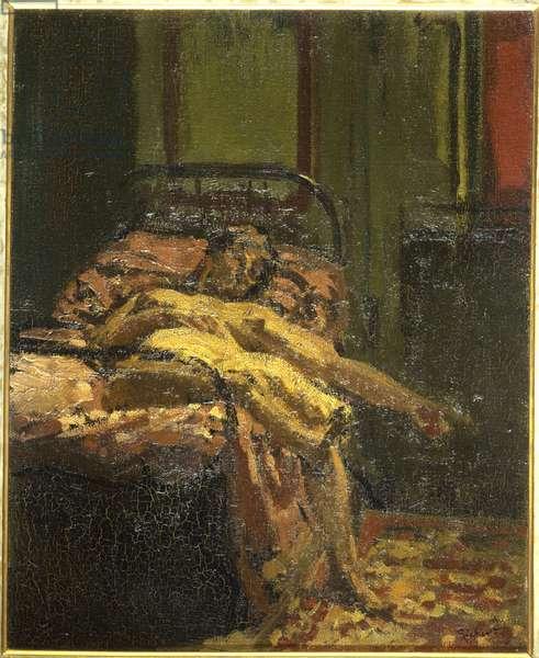 Girl on a Bed, Mornington Crescent (oil on canvas)