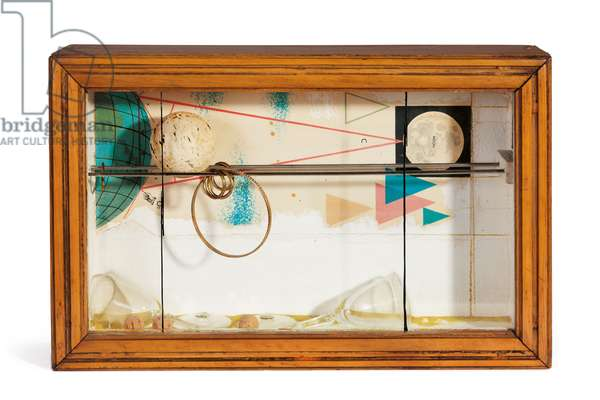 Distance to the Moon, 1961 (printed paper, glass, steel, painted wood, rings and bangle, corkbobber and yellow sand)