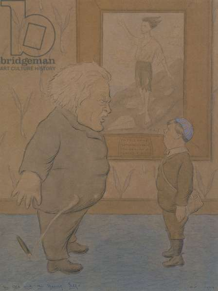The Old and the Young Self: David Lloyd George, 1924 (pencil and watercolour on brown paper)