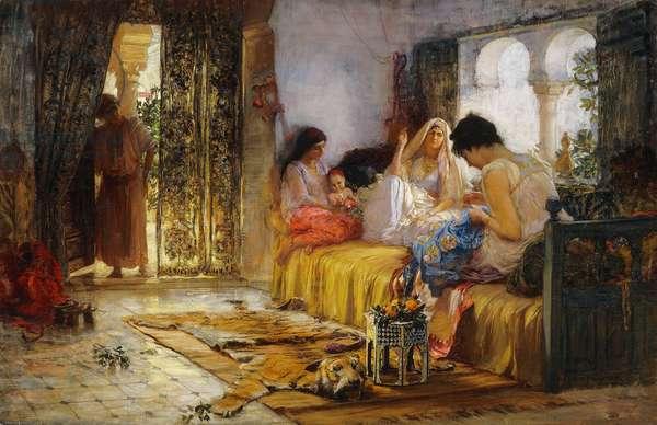 Domestic Interior Scene,  (oil on canvas)