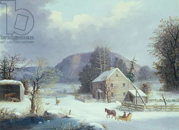 New England Farm by a Winter Road, 1854 (oil on canvas)