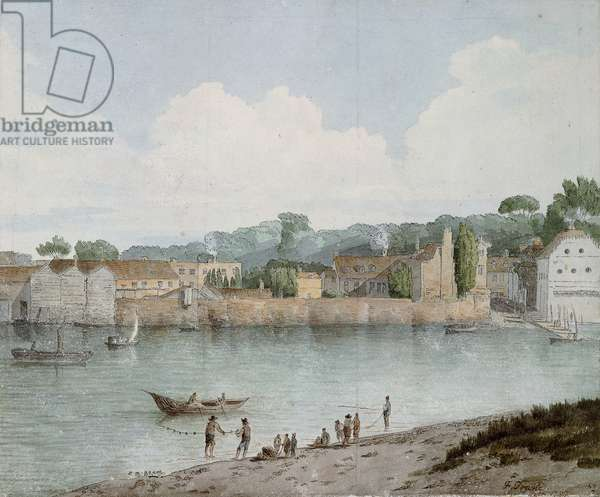 Vauxhall Stairs, from Millbank, 1797 (pen and brown ink and watercolour)