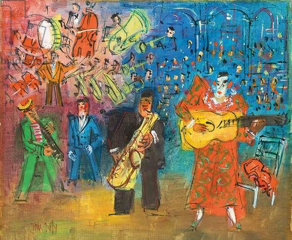 The Clown Musicians  (oil on canvas)