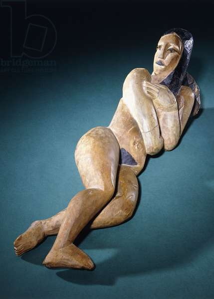 Reclining Nude; Liegende, c.1911-1912 (hand-painted carved wood (chestnut))