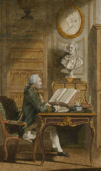 Monsieur de Cormainville in His Library, Writing at His Desk, (black lead, red chalk, watercolour heightened with white)