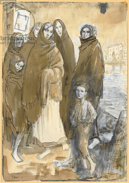 Shawlies, Galway, 1915 (black ink, w/c & bodycolour)