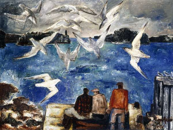 Fisherman and Seagulls, Northern California, 1944 (oil on canvas)