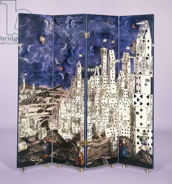 'Citta di Carte'/'Bosco' trompe l'oeil, 1952 (4-panel screen)