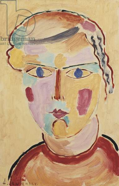 Girl, Bright in Appearance; Madchenkopf, helle Erscheinung, 1916 (oil on thin card laid down on panel)