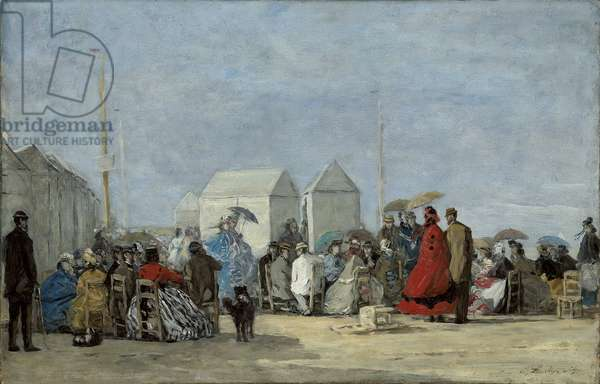 Beach Scene at Trouville; Scene de plage a Trouville, 1864 (oil on board)