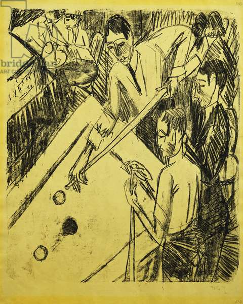 Billiard Player; Billardspieler, 1915 (lithograph on canary-yellow wove paper)