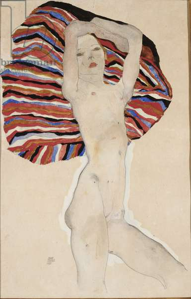 Nude against coloured material, 1911 (w/c, gouache & pencil on paper)