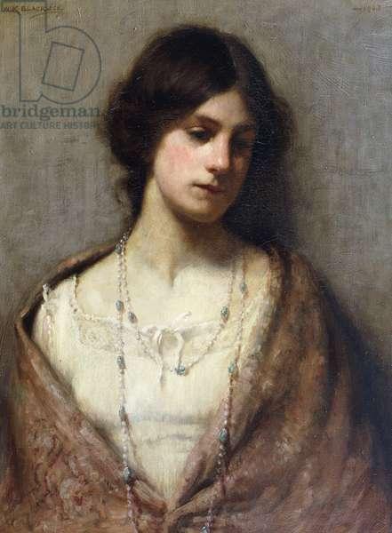 Portrait of the Artist's Wife, half length, (oil on canvas)