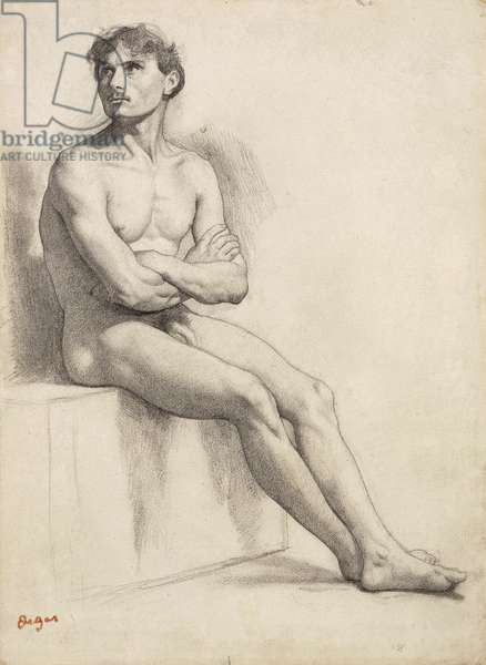 Man Sitting, Nude Study, 1858 (pencil on pale green paper)