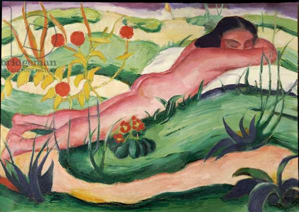 Nude Lying in the Flowers, 1910 (oil on canvas)