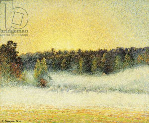 Misty Sunset at Eragny, 1891 (oil on canvas)