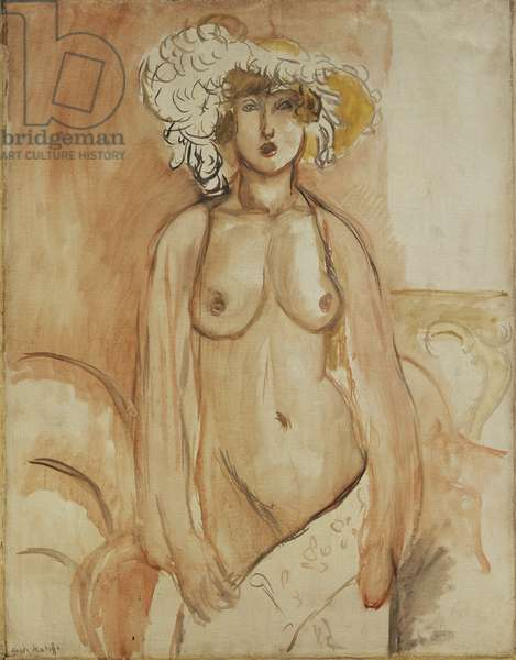 Antoinette Standing, Torso Bared, Wearing a Feather Hat, c.1918 (oil on canvas)