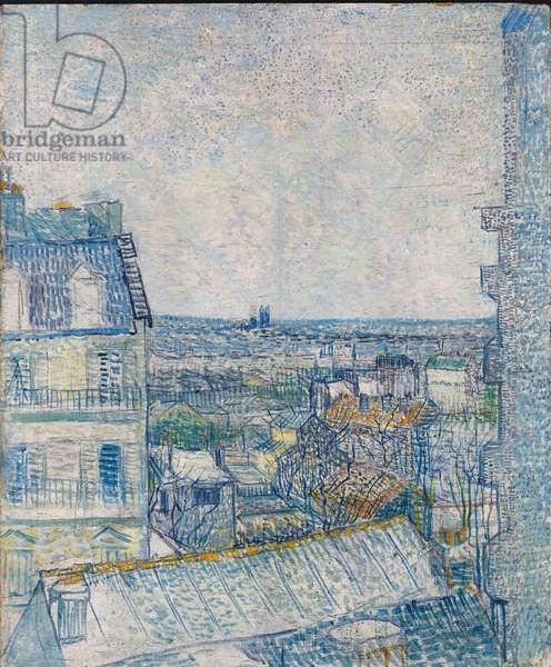 View from the Artist's Window, Rue Lapic;  Vue de la Chambre de l'Artiste, Rue Lepic, 1887 (oil and pencil on board)