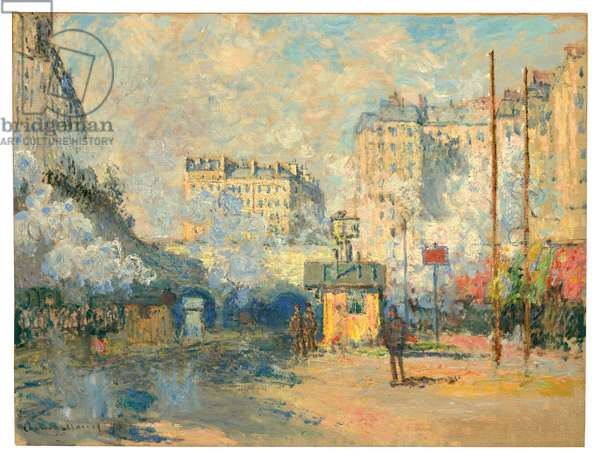 Exterior of Saint-Lazare station, sunlight effect, 1877 (oil on canvas)