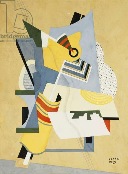 Composition Cubiste, (gouache and pencil on board)