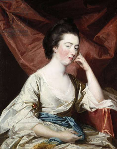 Portrait of a Lady in a White Dress and Blue Sash (oil on canvas)